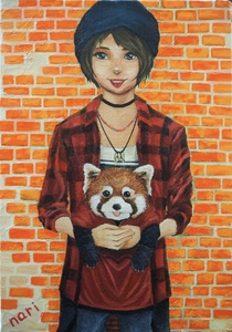 Title:「RED PUNK」 Artist:「なり」 Comment:「red panda × punk girl」 ART-Meter